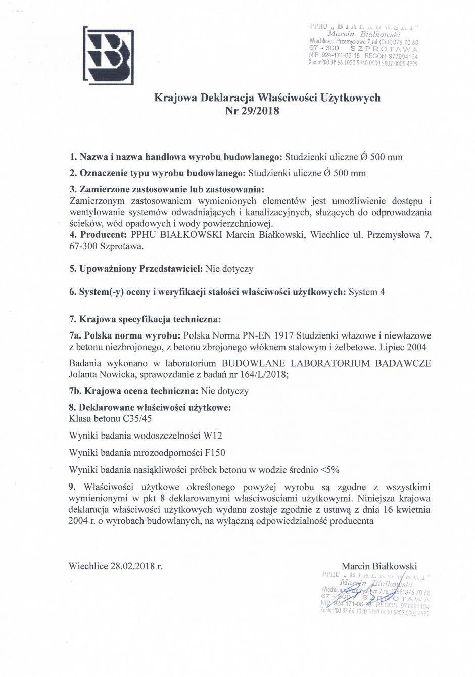 Krajowa Deklaracja Właściwości Użytkowych Nr 29/2018