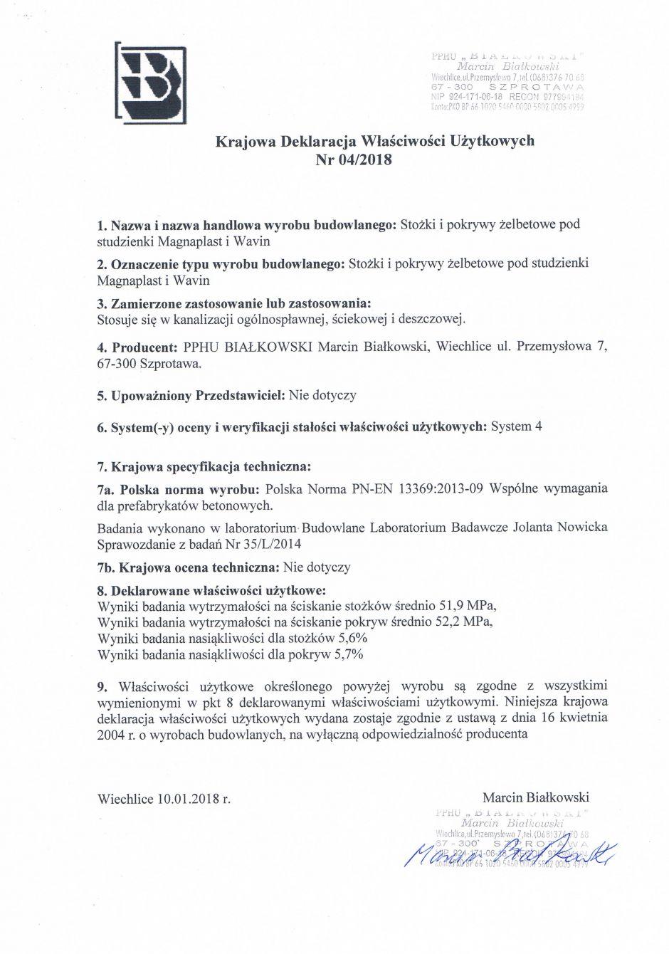 Krajowa Deklaracja Właściwości Użytkowych Nr 04/2018