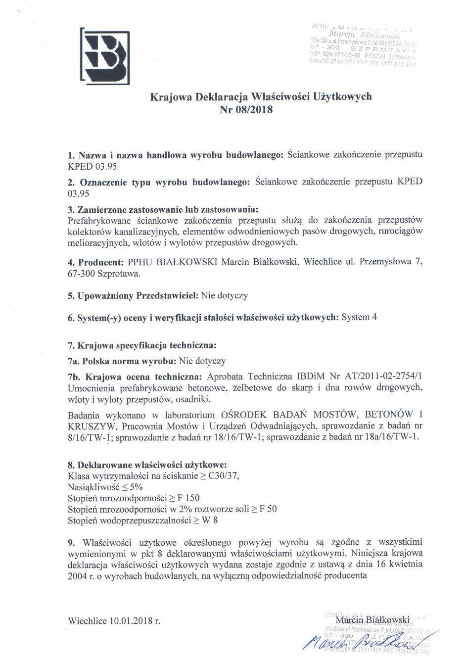 Krajowa Deklaracja Właściwości Użytkowych Nr 08/2018