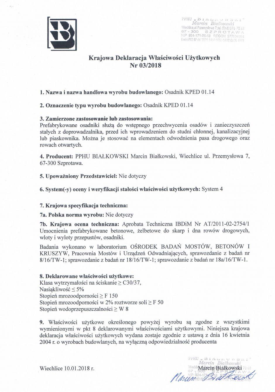 Krajowa Deklaracja Właściwości Użytkowych Nr 03/2018