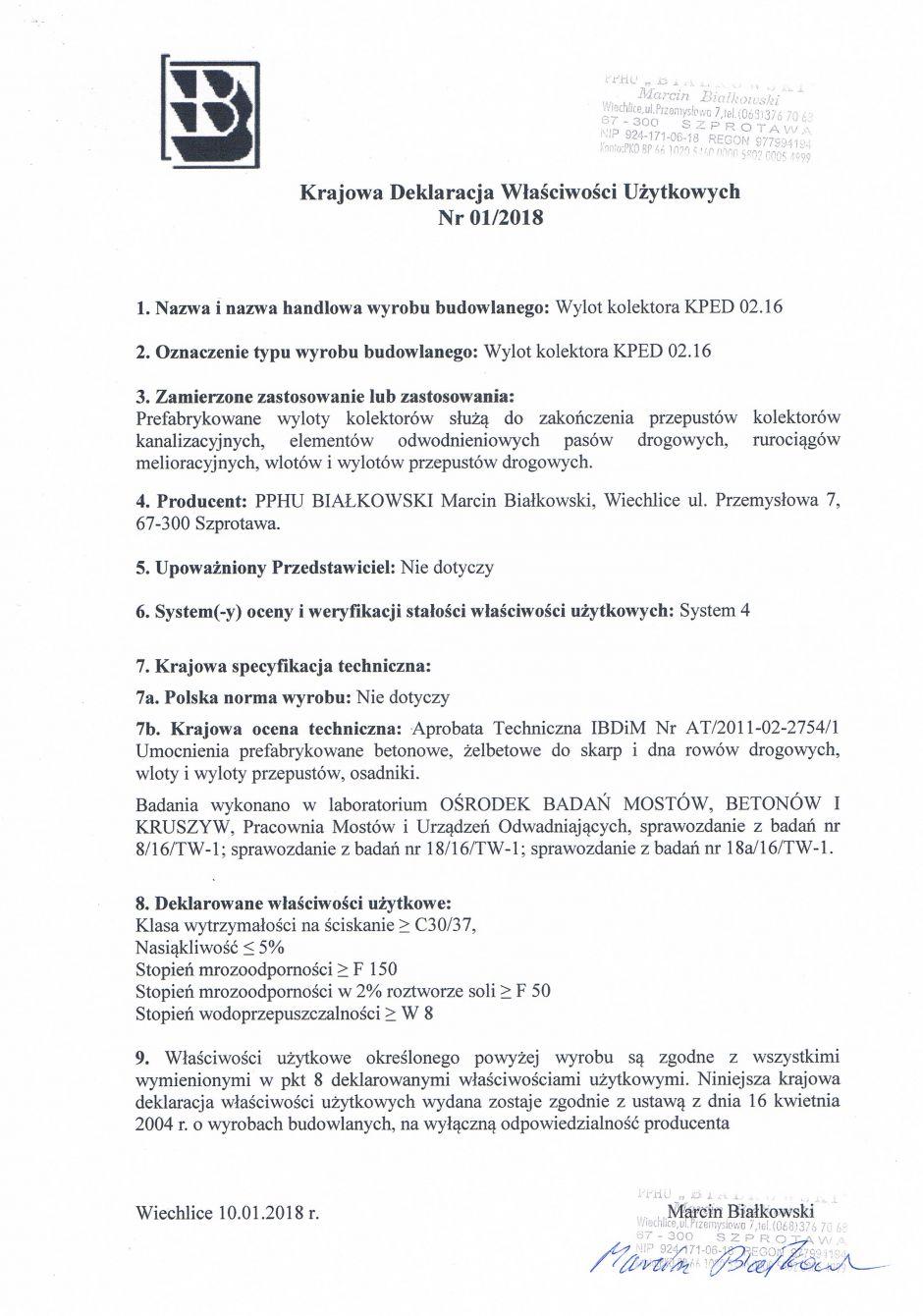 Krajowa Deklaracja Właściwości Użytkowych Nr 01/2018
