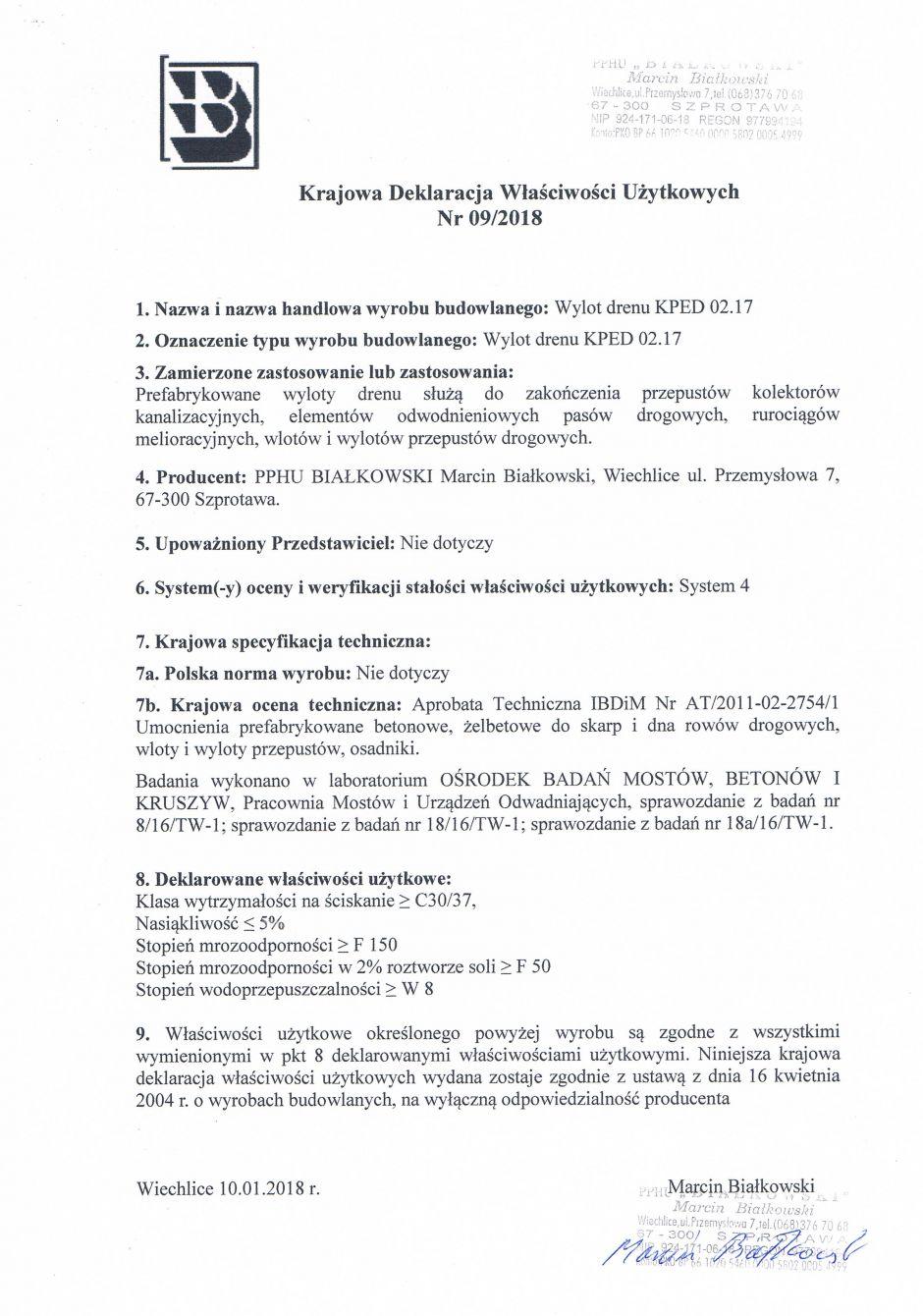 Krajowa Deklaracja Właściwości Użytkowych Nr 09/2018