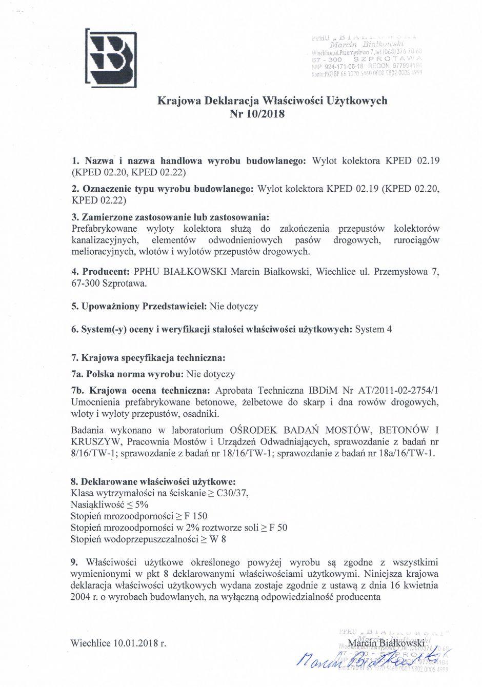 Krajowa Deklaracja Właściwości Użytkowych Nr 10/2018