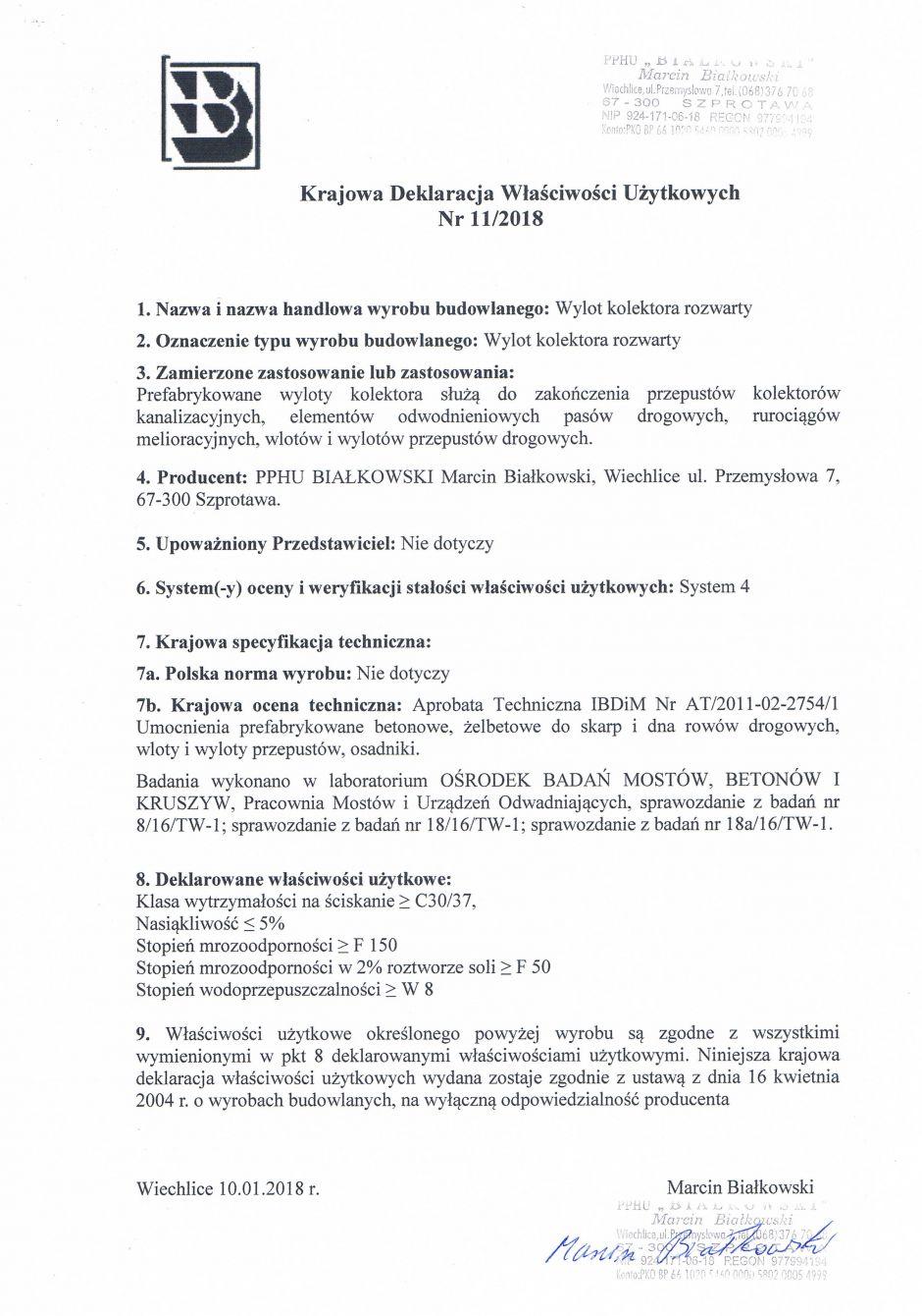 Krajowa Deklaracja Właściwości Użytkowych Nr 11/2018