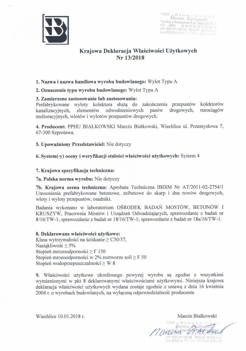 Krajowa Deklaracja Właściwości Użytkowych Nr 13/2018