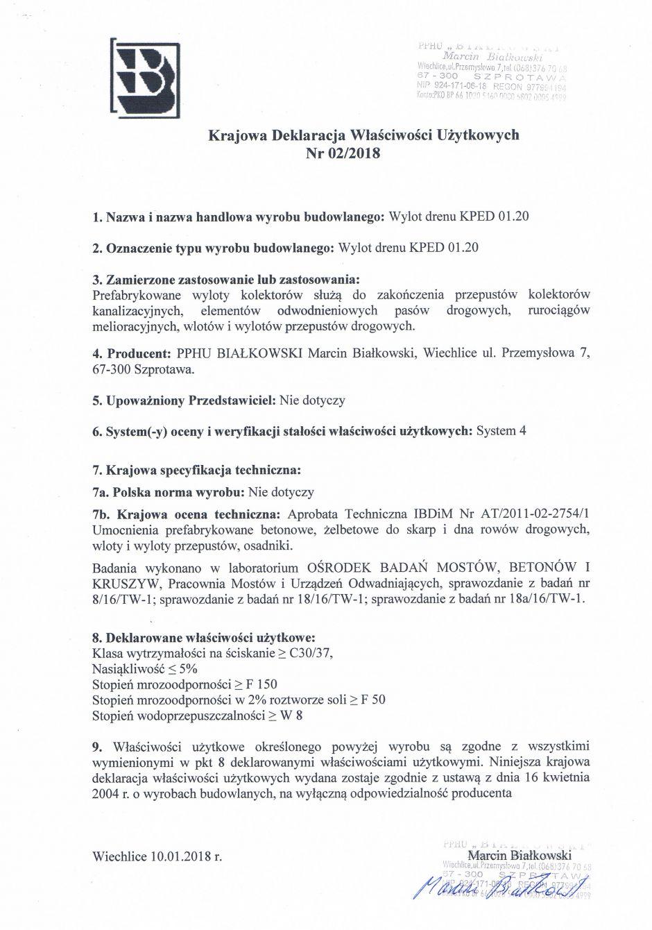Krajowa Deklaracja Właściwości Użytkowych Nr 02/2018