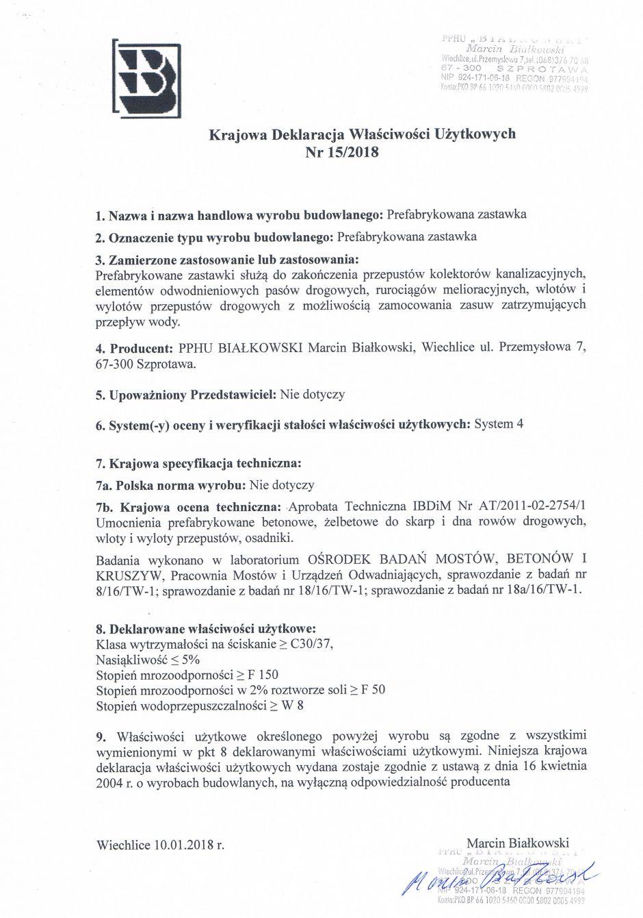 Krajowa Deklaracja Właściwości Użytkowych Nr 15/2018