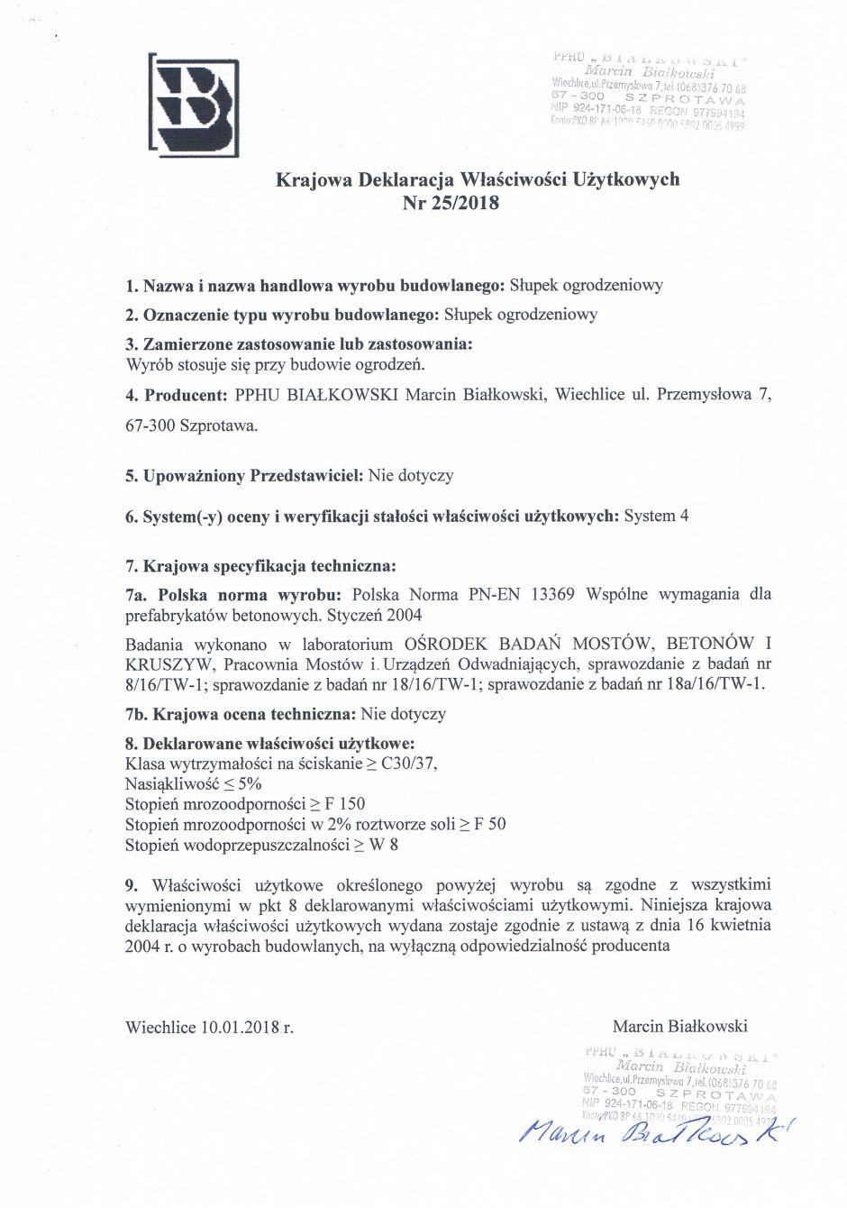 Krajowa Deklaracja Właściwości Użytkowych Nr 25/2018