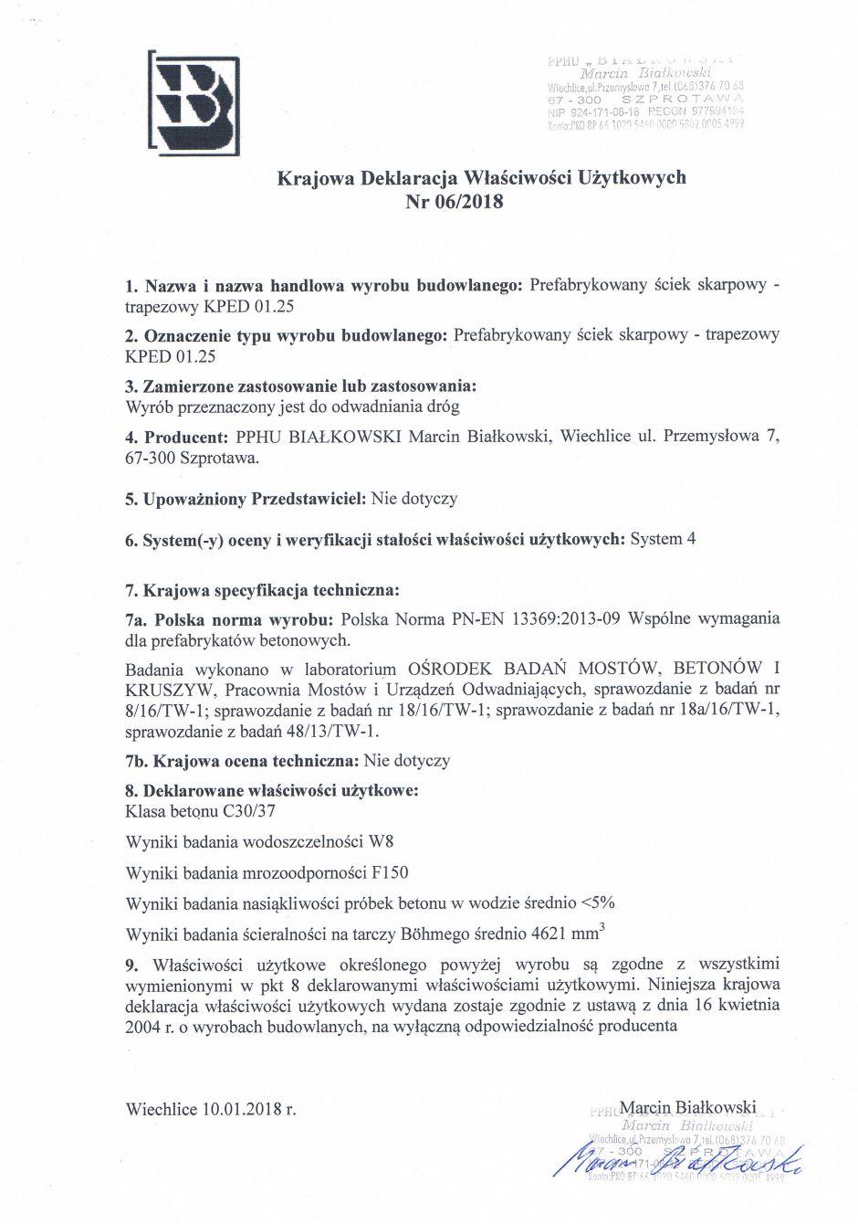 Krajowa Deklaracja Właściwości Użytkowych Nr 06/2018