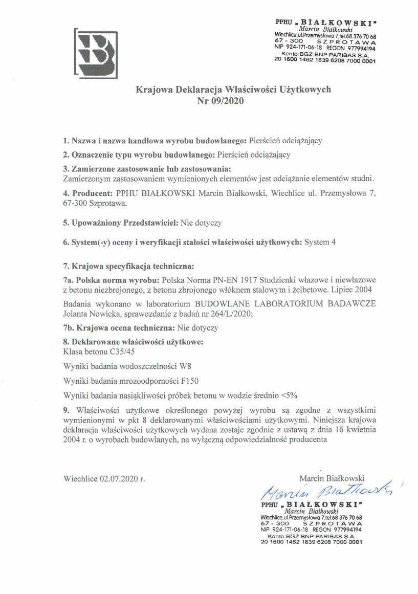 Krajowa Deklaracja Właściwości Użytkowych Nr 09/2020